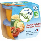 Nestlé Naturnes Bio Légumes du soleil, semoule, poulet dès 6 mois  2x190g