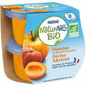 Nestlé Naturnes Bio pomme pêche abricot dès 6 mois 2x115g
