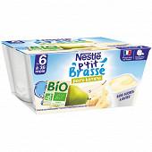 Nestlé P'tit Brassé Bio Banane Poire dès 6 mois 4x90g
