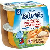 Nestlé Naturnes Les Sélections Riz carotte poulet fermier dès 6 mois 2x200g