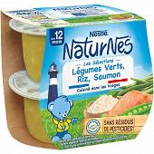 Nestlé Naturnes Les Sélections Légumes Verts, riz, saumon dès 12 mois 2x200g