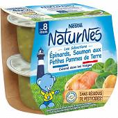 Nestlé Naturnes Les Sélections Epinards saumon & pommes de terre dès 8 mois 2x200g