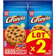 Granola extra cookies pépites de chocolat et daim lot x2 368g