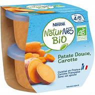 Nestlé Naturnes BIO patate douce carottes dès 4/6 mois 2x130g