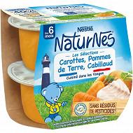 Nestlé Naturnes Les Sélections carottes pommes de terre cabillaud dès 6 mois 2x200g