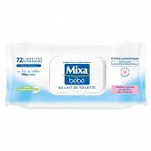 Mixa bébé lingettes ultra-douces au lait de toilette x 72