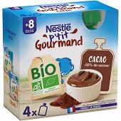 Nestlé P'tit Gourmand Bio Gourdes cacao dès 8 mois 4x85g
