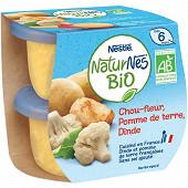 Nestlé naturnes bio chou-fleur pomme de terre dinde dès 6 mois 2x190g
