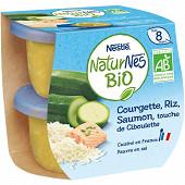 Nestlé Naturnes Bio Courgette riz saumon touche ciboulette dès 8 mois 2x190g