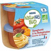 Nestlé Naturnes Bio Spaghetti à la Bolognaise, touche basilic dès 8 mois 2x190g