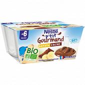 Nestlé P'tit Gourmand Bio banane cacao dès 6 mois 4x90g