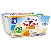 Nestlé P'tit Onctueux Bio mangue dès 6 mois 4x90g