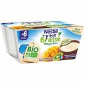 Nestlé P'tit Brassé Bio végétal lait de coco, mangue & kiwi dès 6 mois 4x90g