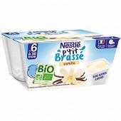 Nestlé P'tit Brassé Bio vanille dès 6 mois 4x90g