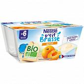 Nestlé P'tit Brassé Bio abricot dès 6 mois 4x90g