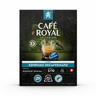 Café royal dosettes type nespresso espresso decaffeinato x18 93g