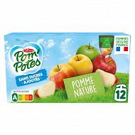 Pom'potes sans sucres ajoutés pomme nature 12x90g