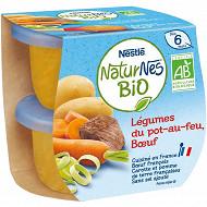 Nestlé Naturnes Bio Légumes du pot-au-feu, boeuf dès 6 mois 2x190g
