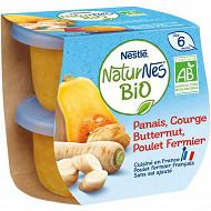 Nestlé naturnes bio panais courgette butternut poulet fermier 2x190g
