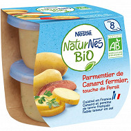 Nestlé Naturnes Bio Parmentier de canard fermier, touche persil dès 8 mois 2x190g