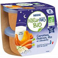 Nestlé naturns bio plat du soir carottes potiron riz et ciboulette dès 6 mois 2x190g