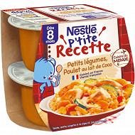 Nestlé p'tite recette légumes poulet coco dès 8 mois 2x200g