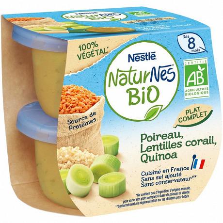 Naturnes bio poirea, lentilles corail, quinoa 2x190g dés 8 mois