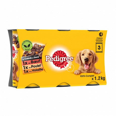 Pedigree boîtes pour chien en sauce les cuisinés aux petits légumes 3x1.2kg