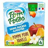 Pom'potes sans sucres ajoutés pomme poire vanille 4x90g