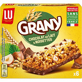 Grany barres chocolat au lait et noisettes 138g