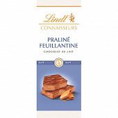 Lindt connaisseurs chocolat au lait praliné feuillantine 120g