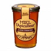 Miel l'apiculteur miel de nos terroirs, récolte locale pot verre 500 g