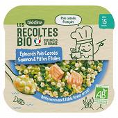 Blédina les récoltes bio épinard pois cassés saumon & pâtes étoiles 15 mois 250g