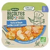 Blédina les récoltes bio purée de panais lentilles corail saumon dès 12 mois 230g