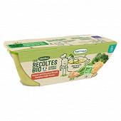 Blédina les récoltes bio douceur petit pois brocolis boulghour poulet 15M 2x200g