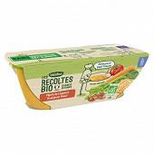 Blédina les récoltes bio mijoté de légumes boulghour boeuf12M 2x200g