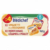 Blédina blédichef cassolette 2 patate douce légumes poulet 2 spaghetti bolognaise dès 15mois 960g