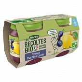 Blédina les récoltes bio pots pommes myrtilles cassis dès 6 mois 2x130g
