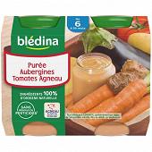 Blédina pots purée aubergines tomates agneau 2x200g 6 mois