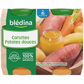 Blédina pots purée carottes patates douces 2x200g 6 mois