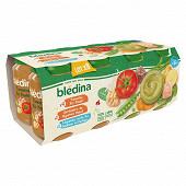 Bledina pots 8X200G - tomates rrz poulet /jardiniere de légumes boeuf/leg saumon dès 6 mois