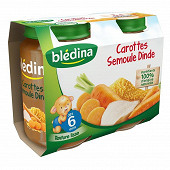 Bledina Pots Sales Carottes Semoule Dinde 2X200G 6mois