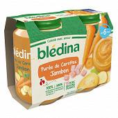 Bledina Pots Purée Carottes Jambon 2X200G 6 mois