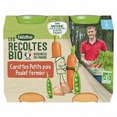 Blédina les récoltes bio carottes petits pois poulet fermier dès 6 mois 2x200g