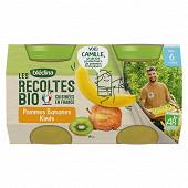 Bledina les récoltes bio pommes bananes kiwis dès 6 mois 2x130g
