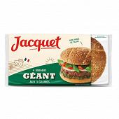 Pain jacquet hamburger géant aux 3 graines x4 330g