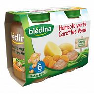 Bledina Pots Sales Haricots Verts Carottes Veau 2X200G 6mois