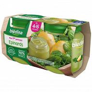 Bledina Pots Sales Mon 1Er Petit Pot Epinards 2X130G 4/6 mois