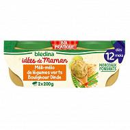 Bledina les idées de maman legumes verts boulghour dinde fines herbes 2x200g dès 12 mois