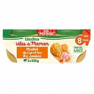 Blédina les idées de maman carottes riz jambon au persil 2 x 200g dès 8 mois